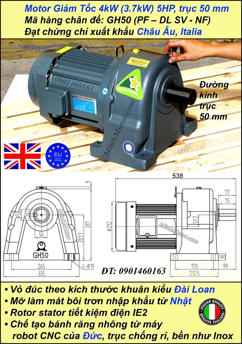 Motor hộp số 4kw 5.5Hp tỷ số truyền 100 trục 50 mm chân đế