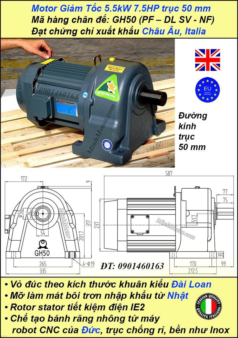 Động cơ giảm tốc 7.5hp1/20, trục 50 mm chân đế