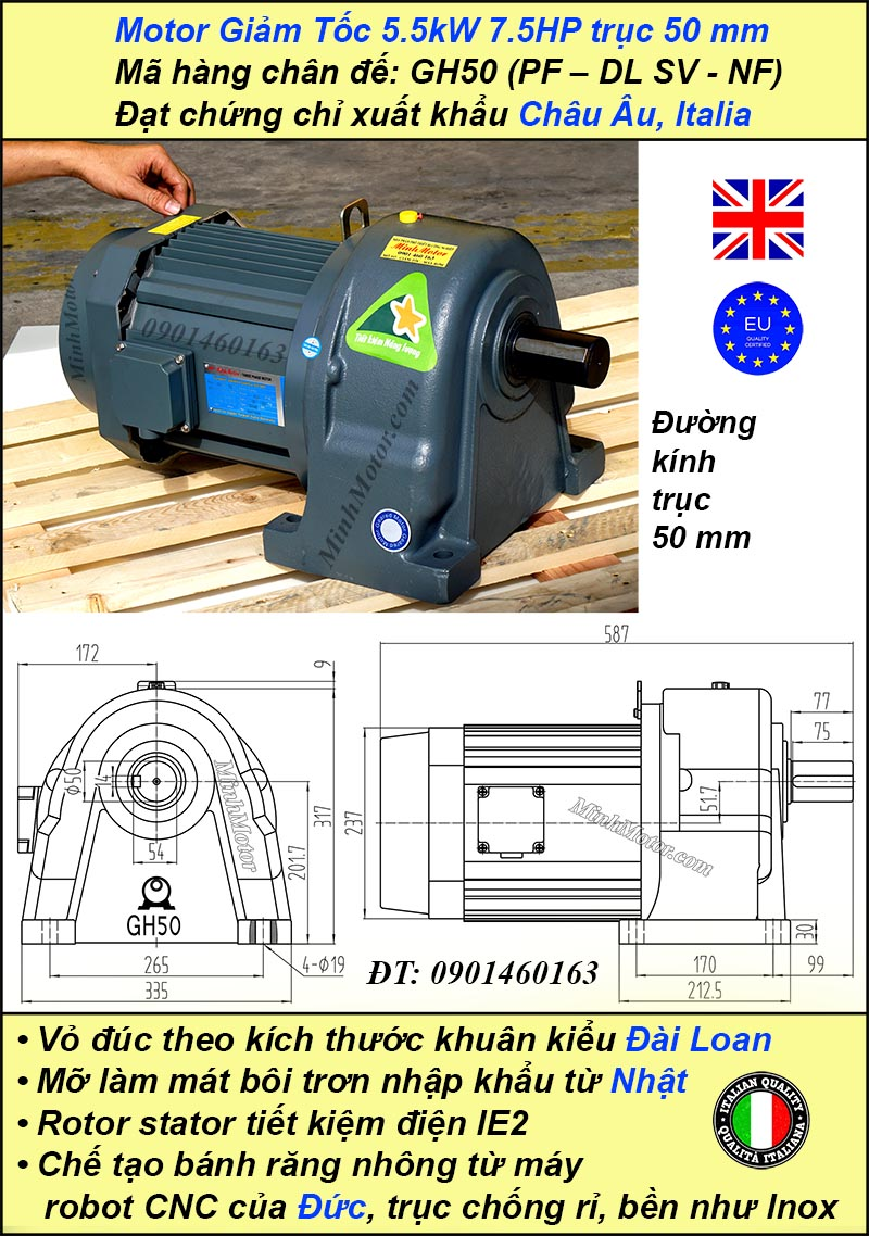 Bản vẽ động cơ giảm tốc 7.5hp 5.5kw 1/60, trục 50 mm chân đế