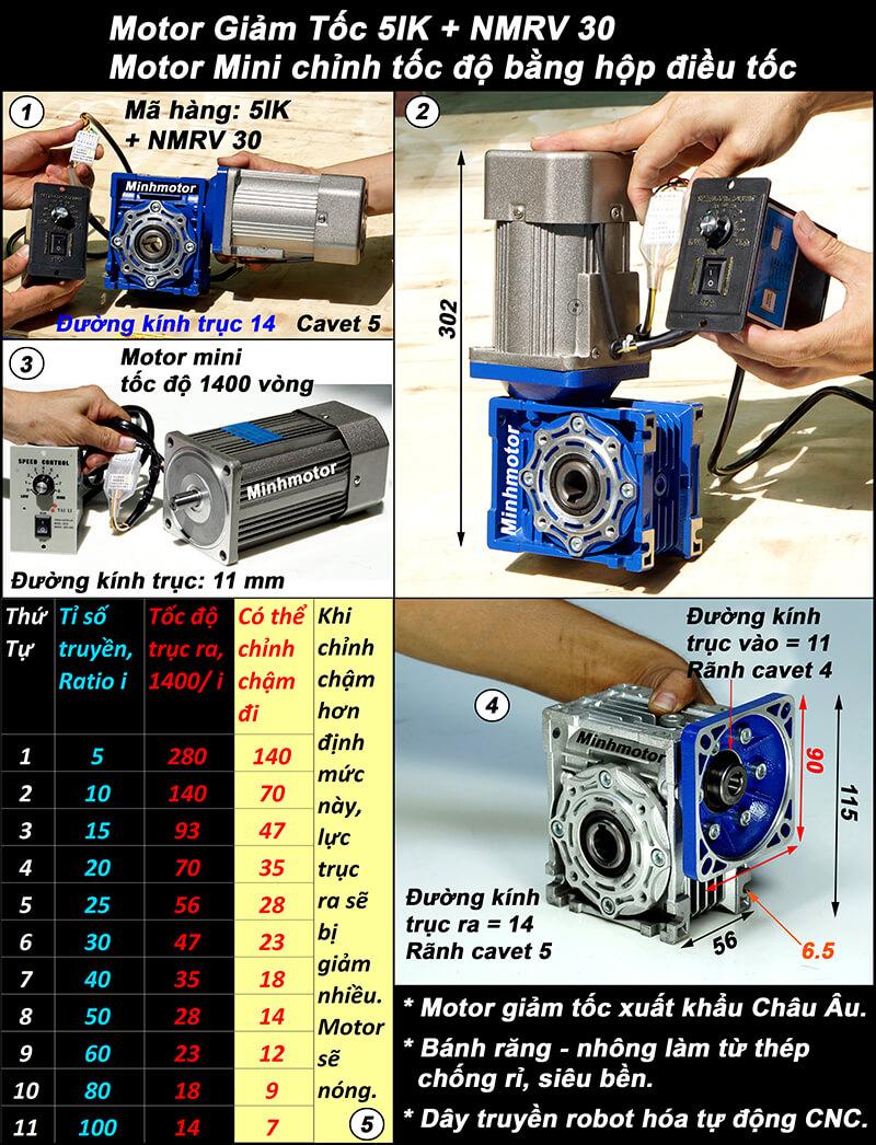 Motor giảm tốc mini 140w lắp hộp chỉnh tốc NMRV size 30