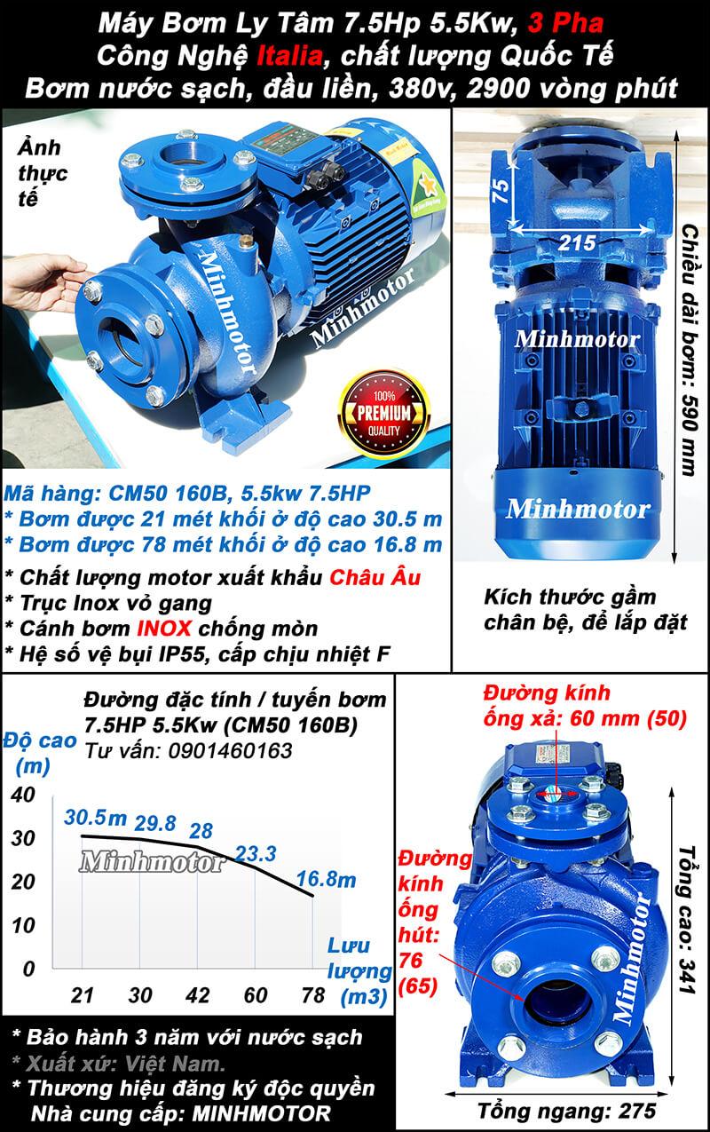 Bơm ly tâm 5.5kw 7.5hp mã CM50-160B
