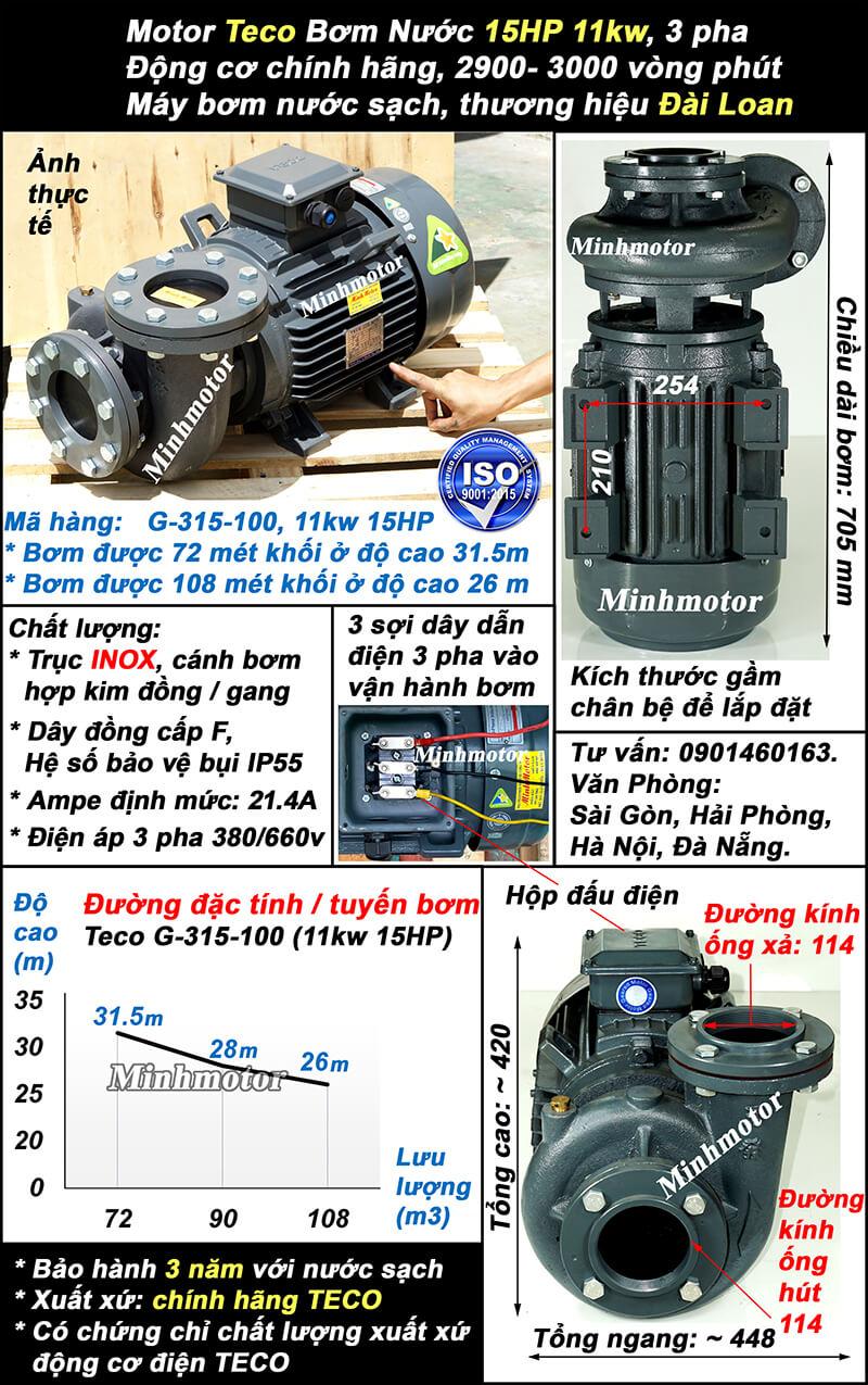 Bơm Teco 15HP 11kw ống 114 Mã hàng: G-315-100