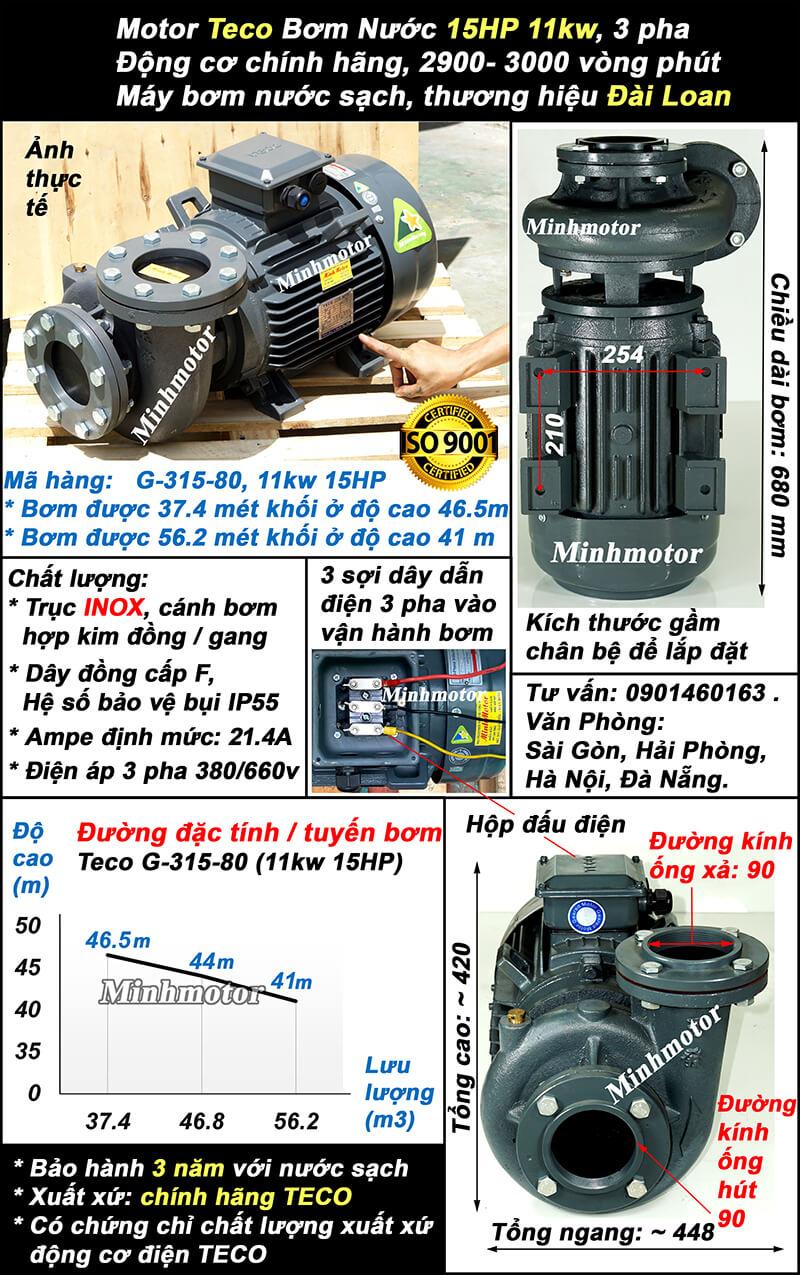 Bơm Teco11kw 15HP ống 90 Mã hàng: G-315-80