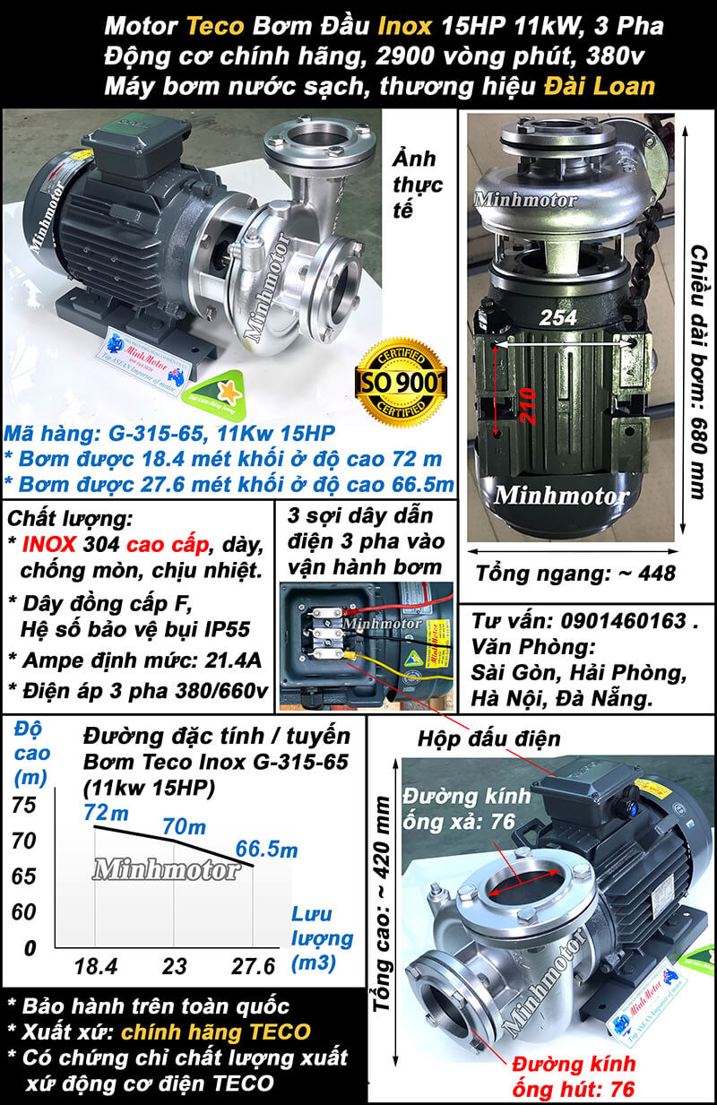 Bơm teco 15HP inox mã hàng G-315-65