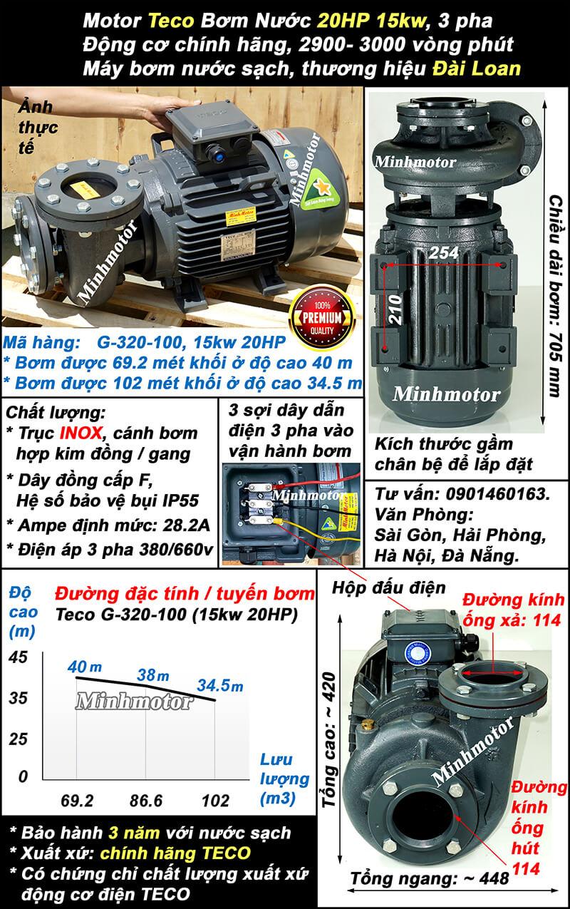 Bơm Teco 20hp 15kw ống 114 Mã hàng: G-320-100