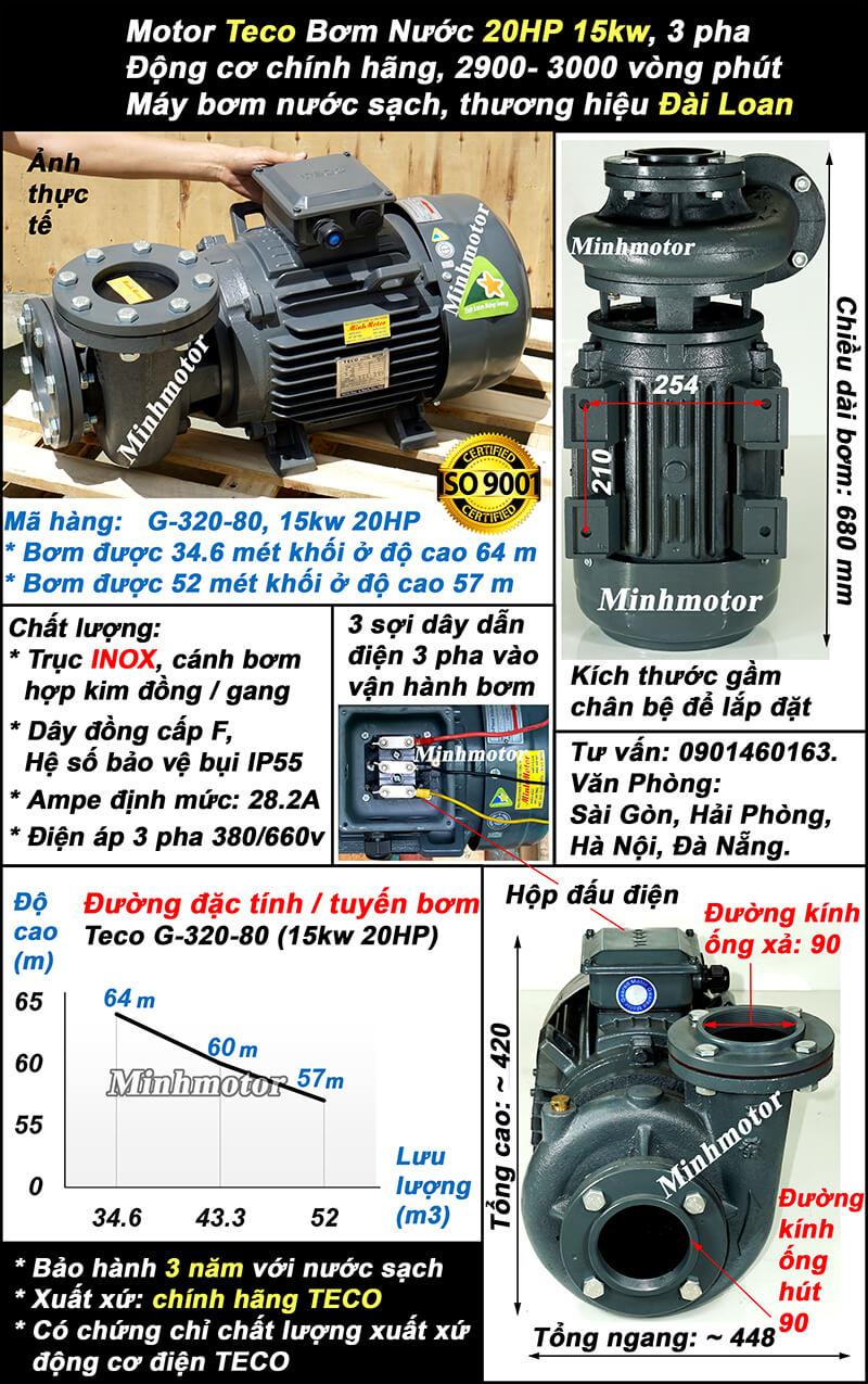 Bơm Teco 15kw 20hp ống 90 Mã hàng: G-320-80