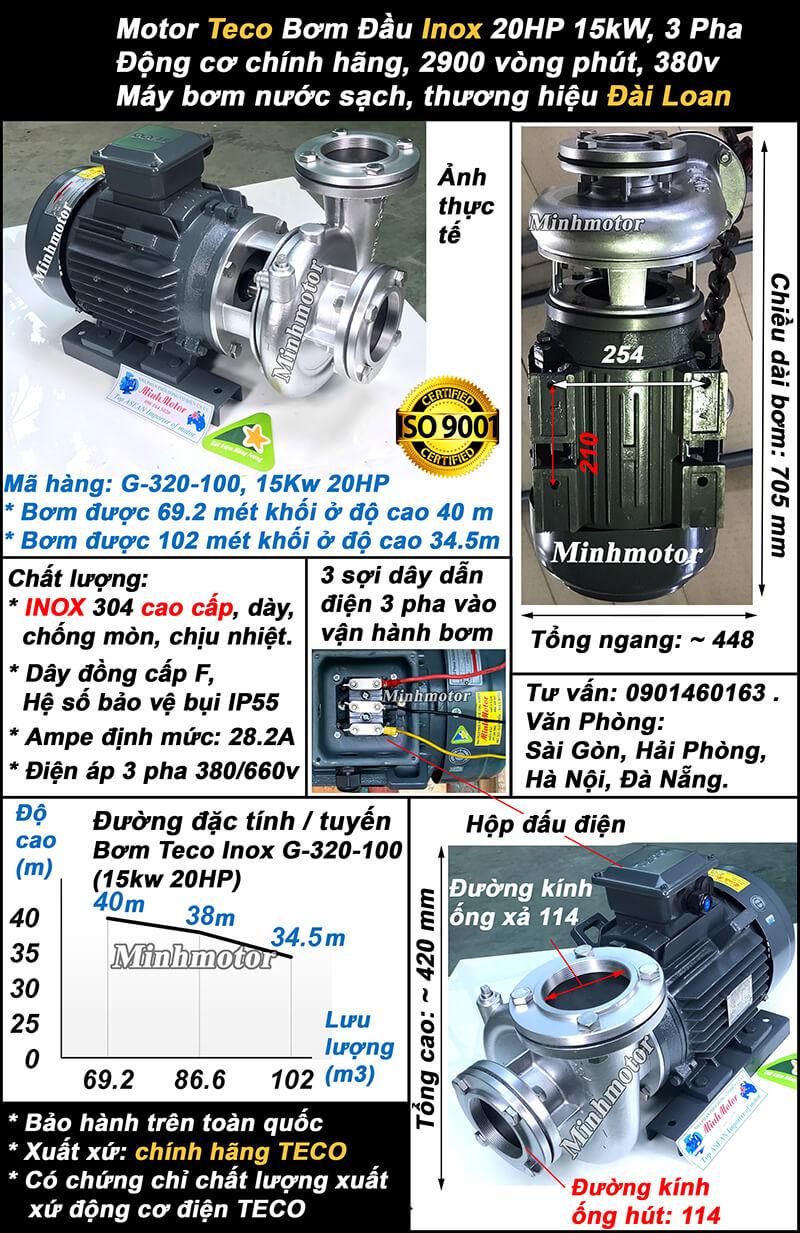 Bơm teco 20hp inox mã hàng G-320-100