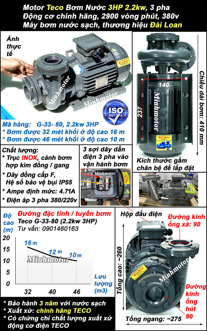 Bơm Teco 3Hp 2.2Kw ống 90