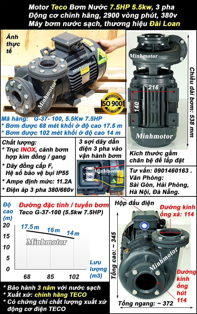 Bơm Teco 7.5hp 5.5kw ống 114