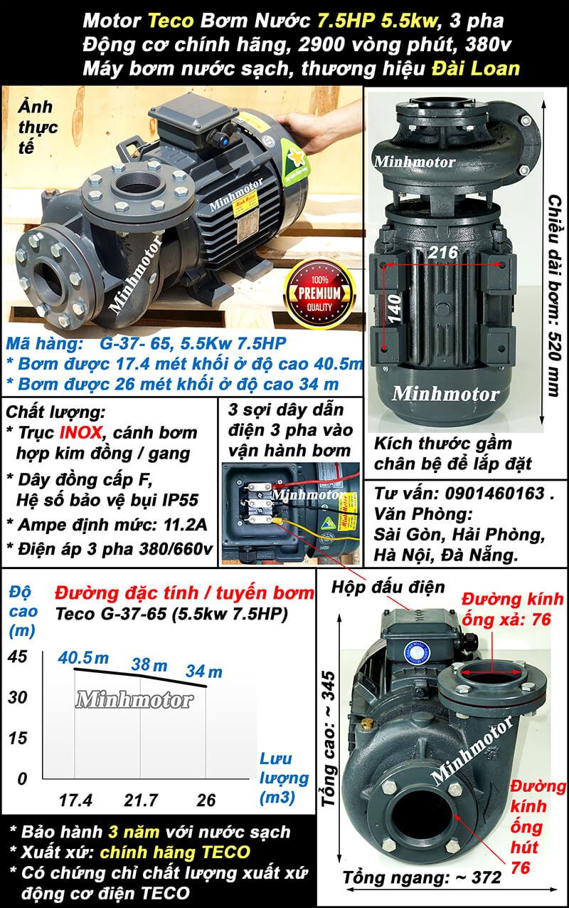 Bơm Teco 7.5hp 5.5kw ống 76