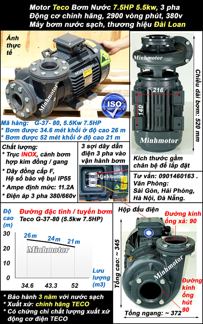 Bơm Teco 7.5hp 5.5kw ống 90