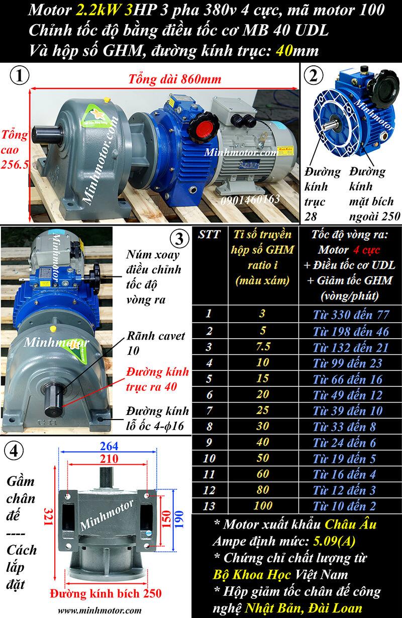 Motor điều tốc 3 pha 2.2Kw 3Hp trục thẳng