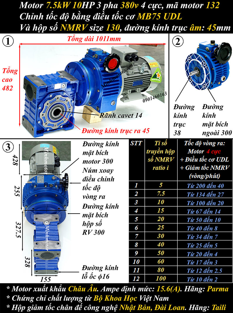 Bộ điều tốc motor 7.5Kw 10Hp gắn trục vít bánh vít size 130