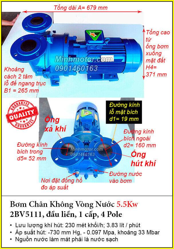 Bơm hút chân không vòng nước 2BV5111 đầu liền 1 cấp 5.5kw 7.5Hp