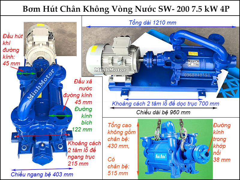 Bản vẽ hình học bơm chân không vòng nước 7.5kw 10HP, SW - 200