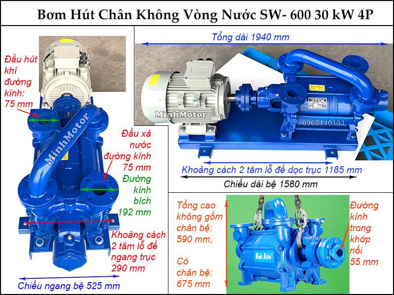Bản vẽ hình học bơm chân không vòng nước 30kw 40HP, SW - 600