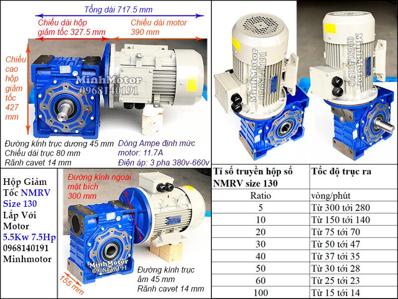Hộp giảm tốc size 130 lắp với motor 5.5kw 7.5HP