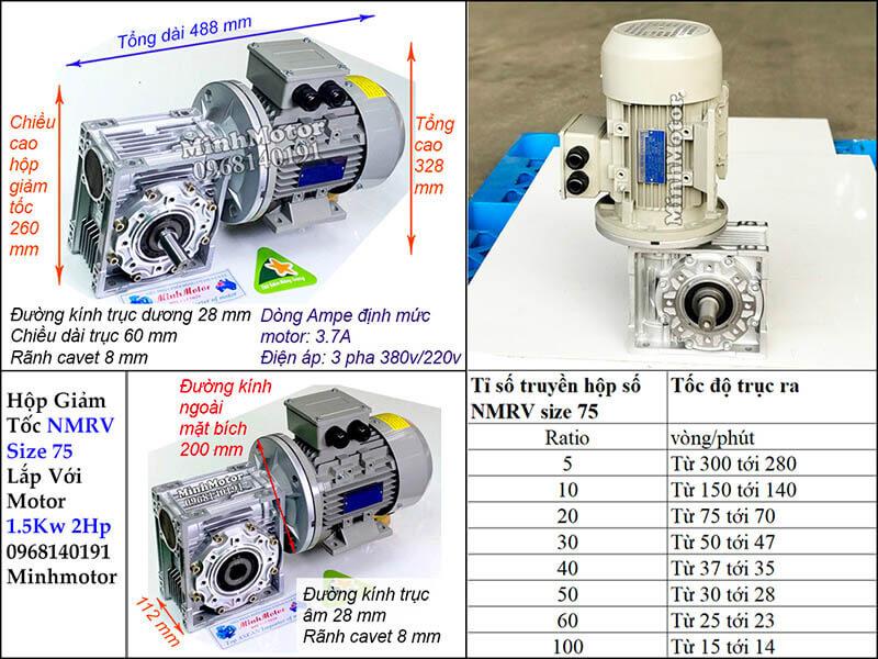 Hộp giảm tốc size 75 lắp với motor 1.5kw 2HP