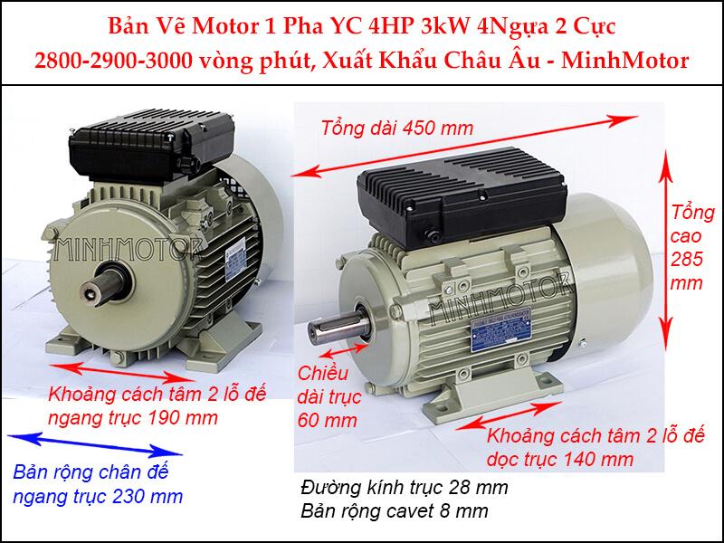 Bản vẽ motor 1 pha YC chân đế 3kW 4HP 4 Ngựa 2 cực