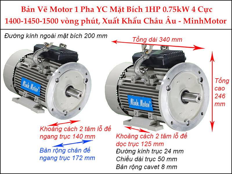 Bản vẽ motor 1 pha YC mặt bích 0.75kW 1HP 1 Ngựa 4 cực