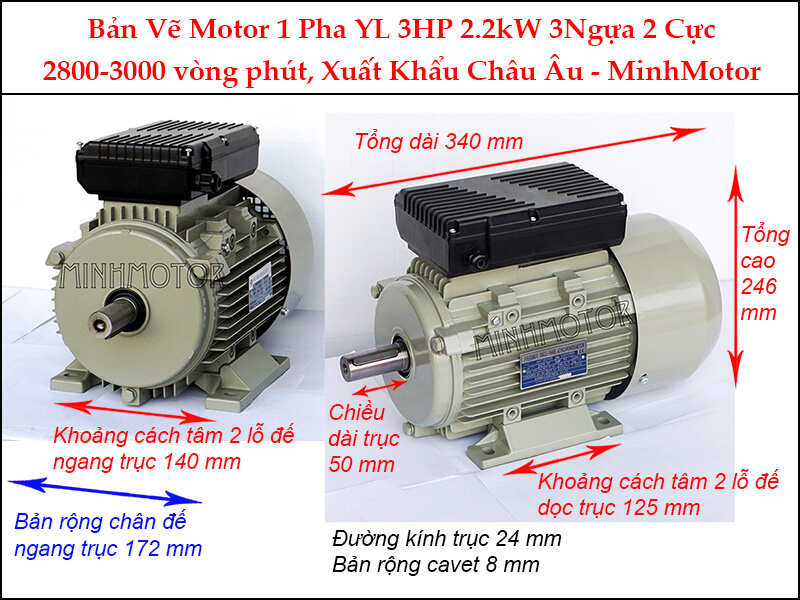 Bản vẽ motor 1 pha YL chân đế 2.2kW 3HP 3 Ngựa 2 cực