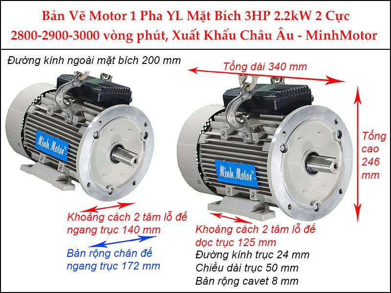 Bản vẽ motor 1 pha YL mặt bích 2.2kW 3HP 3 Ngựa 2 cực