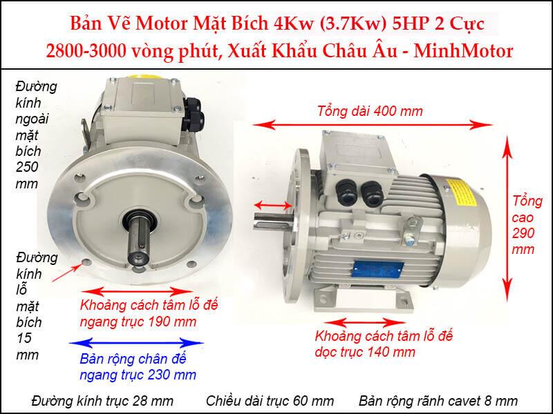Parma motor 2 cực chân đế 3 pha 4Kw 5Hp