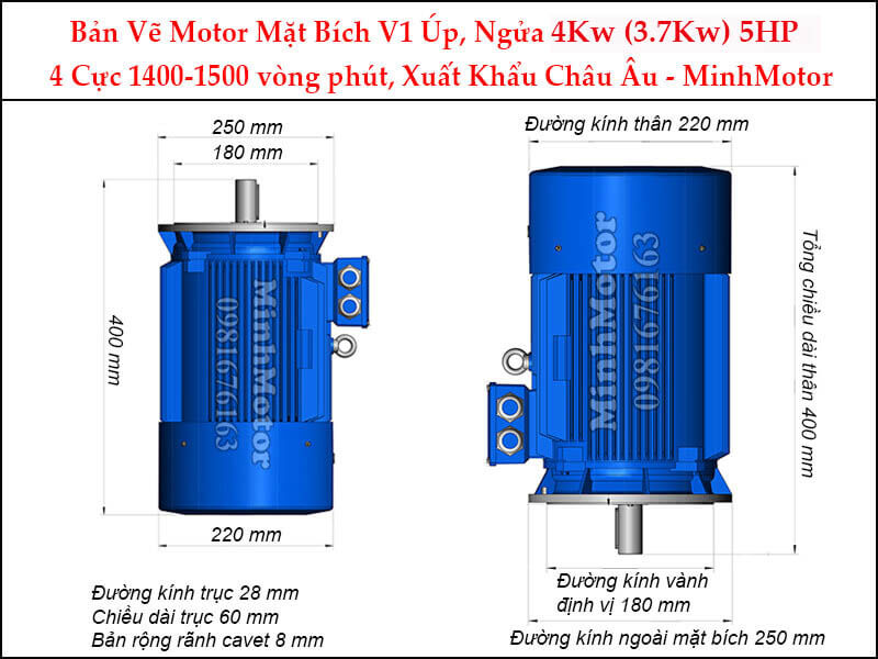 motor mặt bích V1 úp ngửa 4Kw 5Hp 4 cực
