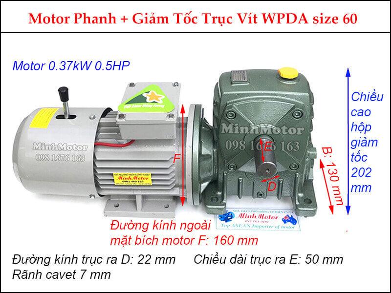 Motor 0.4kw cốt ngang gắn hộp giảm tốc WPDA size 60