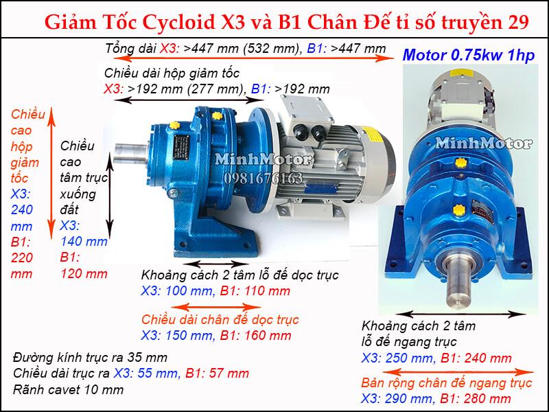 Kích thước motor hộp số cyclo 1HP 0.75kw tỉ số truyền 29