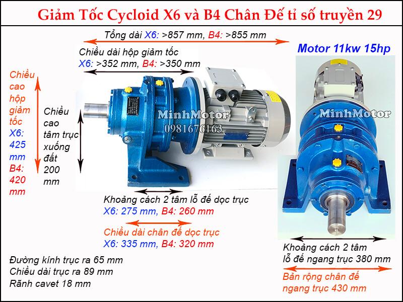 Kích thước motor hộp số cyclo 15HP 11kw tỉ số truyền 29