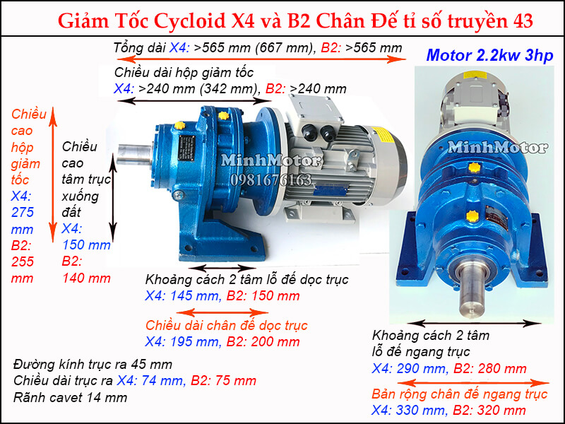 Bản vẽ động cơ giảm tốc cycloid 3HP 2.2kw ratio 43