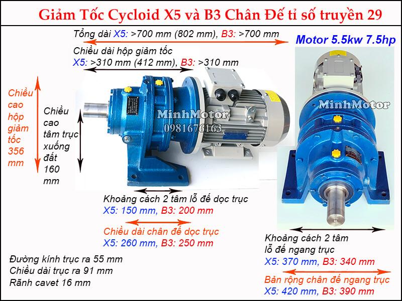 Kích thước motor hộp số cyclo 7.5HP 5.5kw tỉ số truyền 29