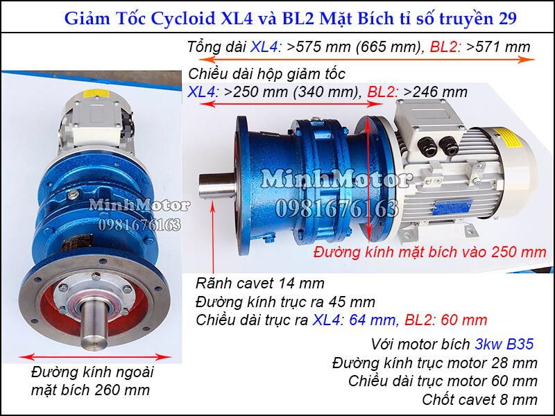 Kích thước motor hộp số cyclo 4HP 3kw tỉ số truyền 29