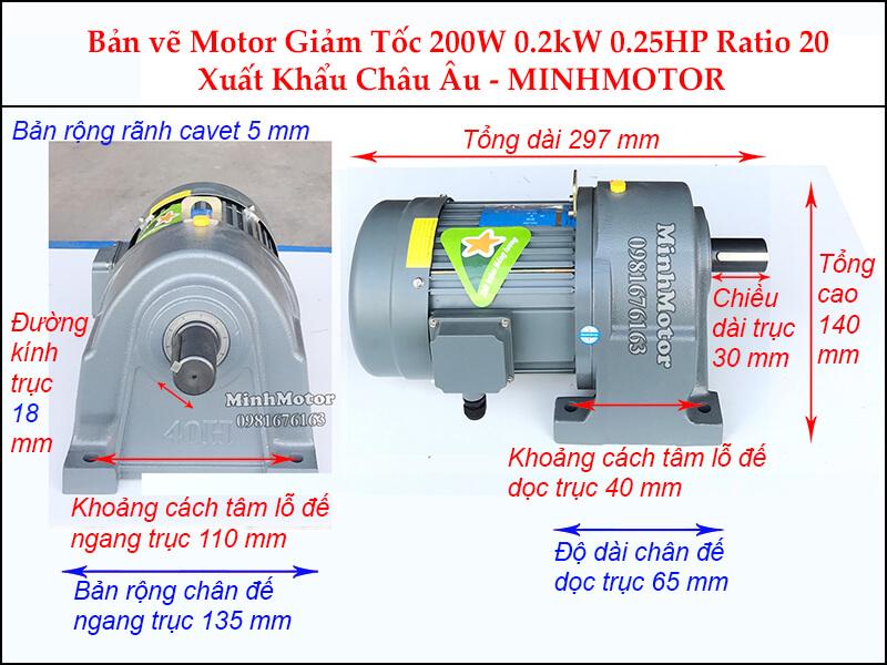 Bản vẽ động cơ giảm tốc chân đế 0.25 hp 0.2 kw tỉ số truyền 1/20, trục 18