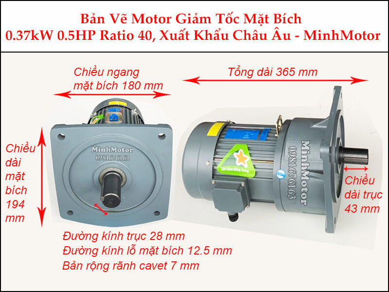 Kích thước motor giảm tốc mặt bích 0.37 kw 0.5 hp 1/40 ratio 40 trục 28