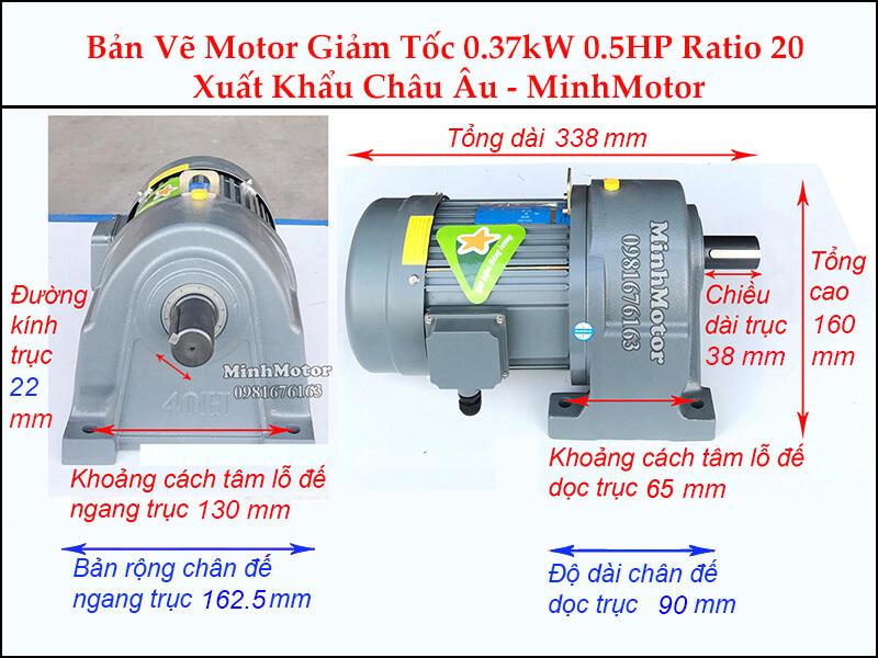 Kích thước motor giảm tốc chân đế 0.37 kw 0.5 hp 1/20 ratio 20 trục 22