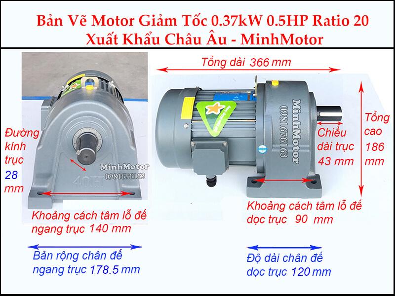 Kích thước motor giảm tốc chân đế 0.37 kw 0.5 hp 1/20 ratio 20 trục 28