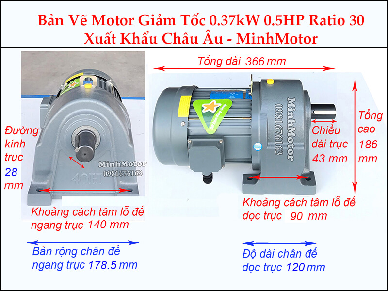 Kích thước motor giảm tốc chân đế 0.37 kw 0.5 hp 1/30 ratio 30 trục 28