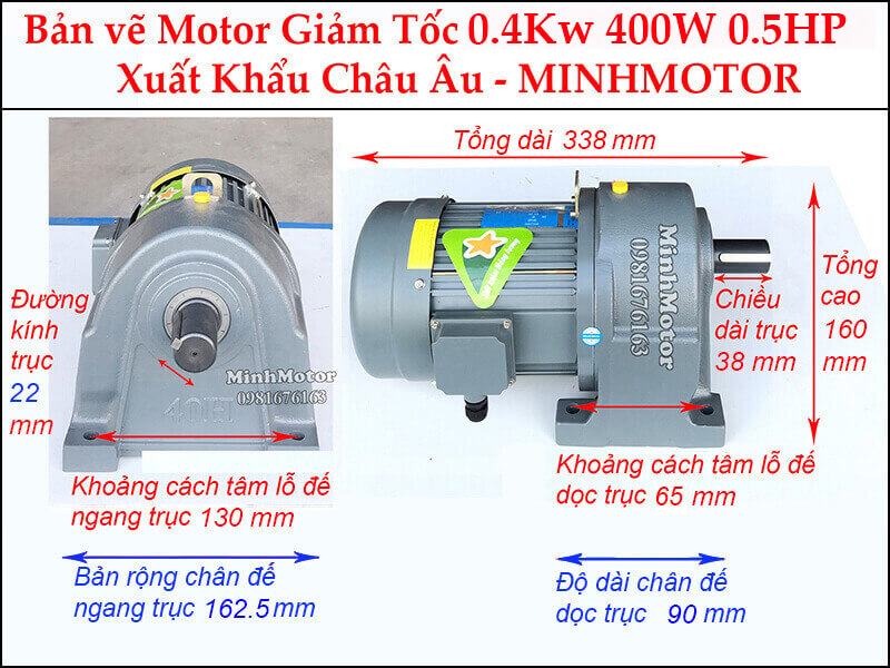 Kích thước motor giảm tốc chân đế 0.4 kw 0.5 hp 1/20 ratio 20 trục 22