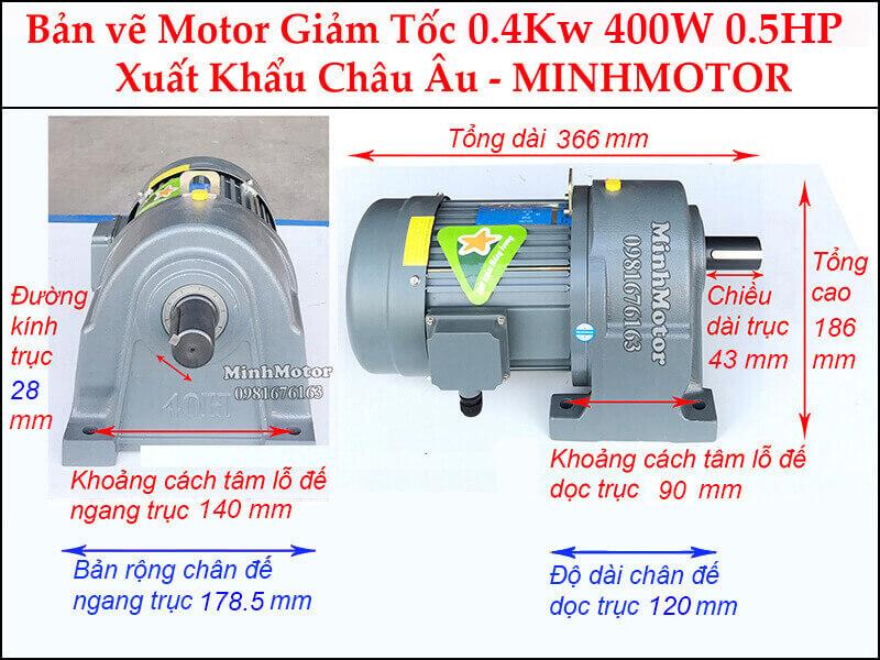 Kích thước motor giảm tốc chân đế 0.37 kw 0.5 hp 1/100 ratio 100 trục 28