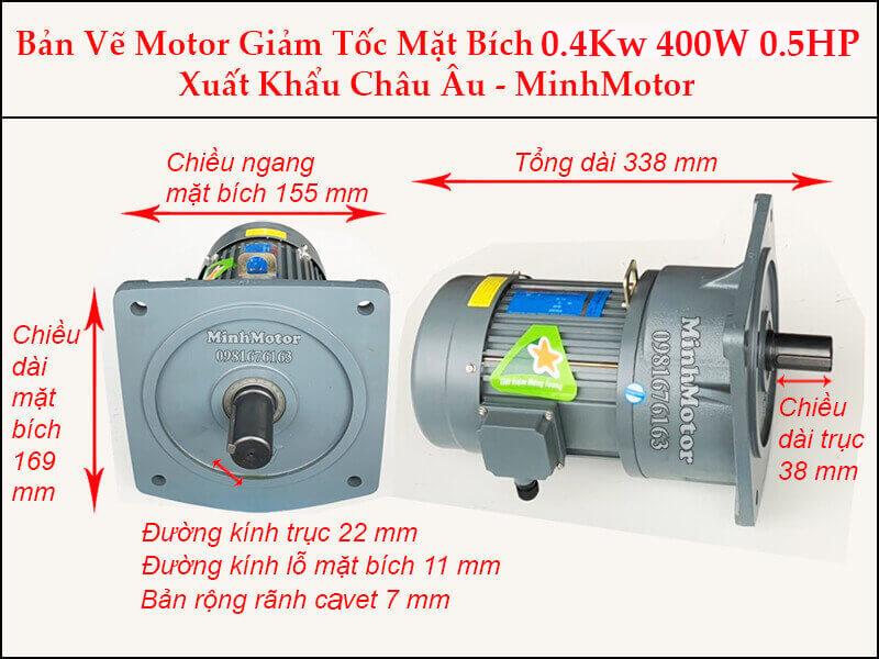 Kích thước motor giảm tốc mặt bích 0.37 kw 0.5 hp 1/20 ratio 20 trục 22