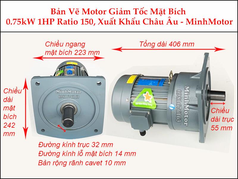 Kích thước motor giảm tốc mặt bích 0.75kw 1hp 1/150 ratio 150 trục 32