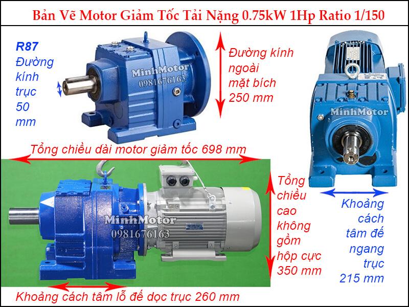 Kích thước Motor giảm tốc 1HP 0.75kw R87 ratio 155.34