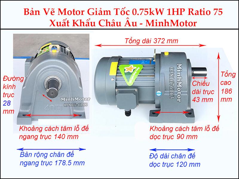 Kích thước motor giảm tốc chân đế 0.75kw 1hp 1/75 ratio 75 trục 28