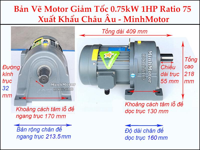 Kích thước motor giảm tốc chân đế 0.75kw 1hp 1/75 ratio 75 trục 32