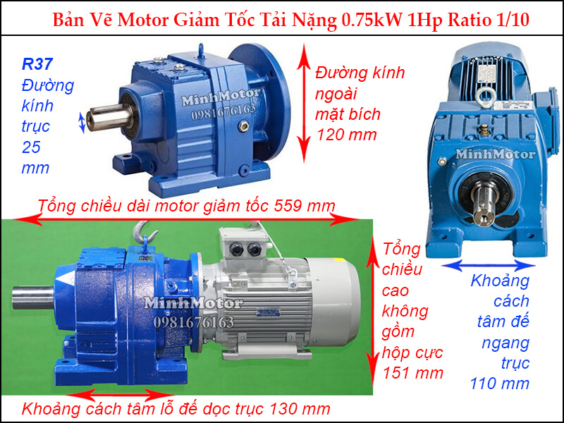 Kích thước Motor giảm tốc 1HP 0.75kw R37 ratio 10.11