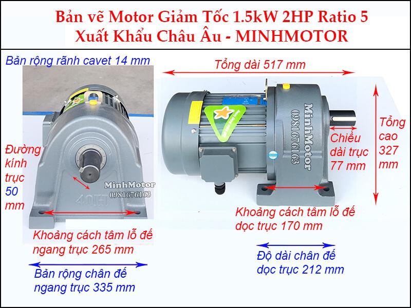 Kích thước motor giảm tốc chân đế 1.5 kw 2 hp 1/5 ratio 5 trục 50