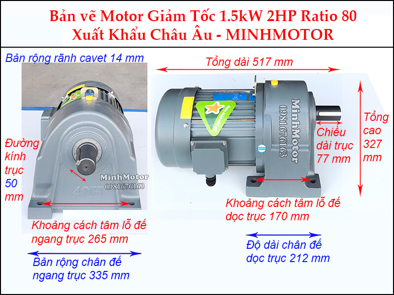 Kích thước motor giảm tốc chân đế1.5 kw 2 hp 1/80 ratio 80 trục 50
