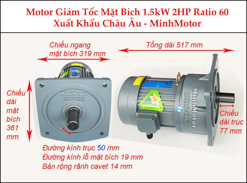 Kích thước motor giảm tốc mặt bích1.5 kw 2 hp 1/60 ratio 60 trục 50